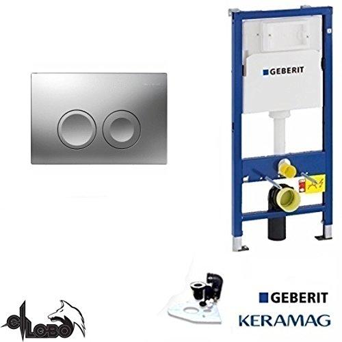 Geberit Duofix Basic UP 100 WC Vorwandelement WC SET mit Platte Delta 21 CHROM , Schallschutzset Chrom-platte