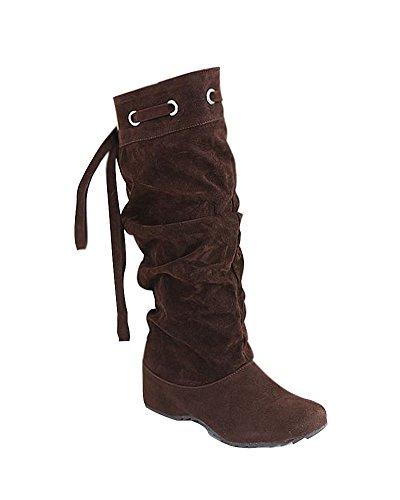 Minetom Damen Schnee Lädt die Warme Winter Glache Schuhe Mode Frauen Stiefel Half Boots Braun