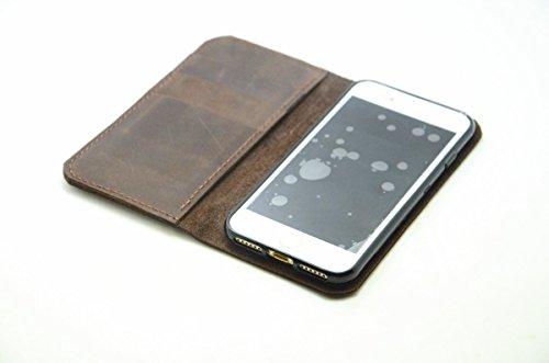 JJUSA handgemachte echtes Leder-Mappenkasten für iphone 7/7 Plus Flip-Cover Flip Case mit Kreditkarte -Schlitz (iphone 7 plus dark brown) (Braut Eine Sieben Brüder Für)