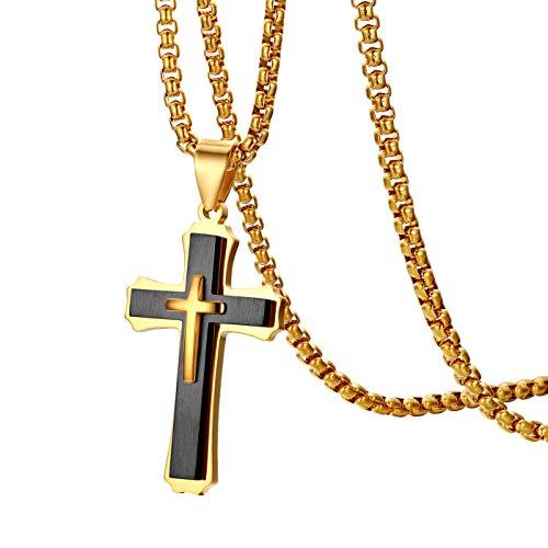 Oidea Herren Damen Edelstahl Christus Kreuz Anhänger mit 56cm Halskette Gold schwarz