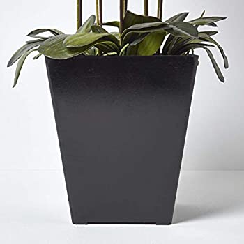 Homescapes Large Artificial Cream Orchid in Square Black Pot