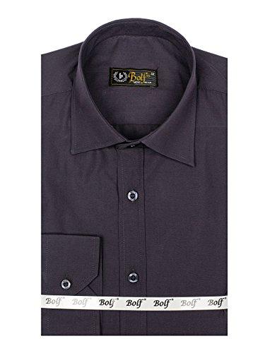 Bolf Herren Hemd Elegant Langarm Farbwahl Knopfleiste Casual Style 2B2 MIX Dunkelgrau_1703