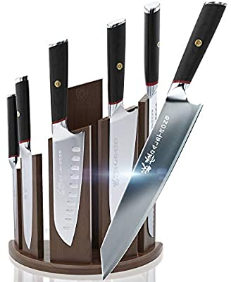 DALSTRONG Knife Set Block- Phantom Series Magnetic Walnut Block- Japanese AUS-8 Steel - 6pc- Holds 12pc