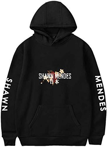 OLIPHEE Damen Kapuzenpullover Shawn Mendes gedruckt Hoodie Langarm Sweatshirt mit Kapuze Schwarz M