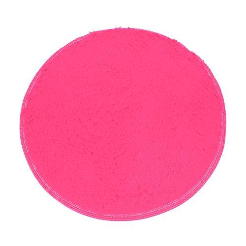 Scrolor Runder Matte Teppich Wohnzimmer Teppiche rutschfeste weiche Lange Flauschige Bad Schlafzimmer Boden Dekoration(Hot Pink,40cm Durchmesser)