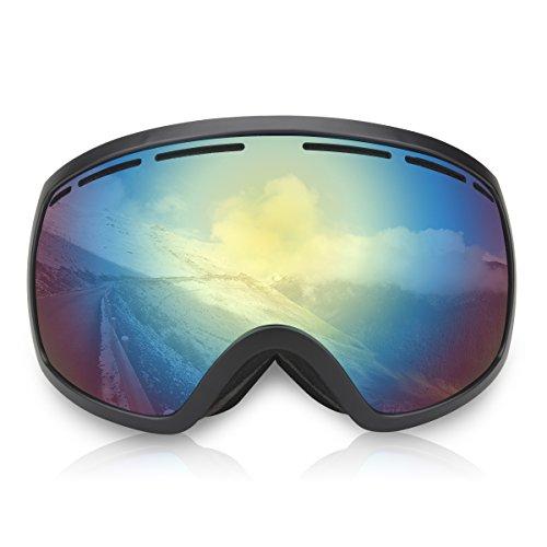 Trideer Skibrille Snowboardbrille Schneebrille Sportbrille, Anti-Fog UV-Schutz Ski Goggles für Herren Damen Kinder (#2 Brau+Golden)