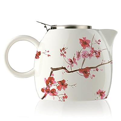 La théière en céramique à infuser PUGG par Tea Forté avec panier infuseur et couvercle pour feuilles de thé en vrac, Fleurs de cerisier