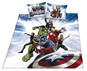 Marvel Parure housse de couette officielle Avengers Motif Hulk Ironman Thor Captain America Black Widow Hawkeye 200 x 200 cm
