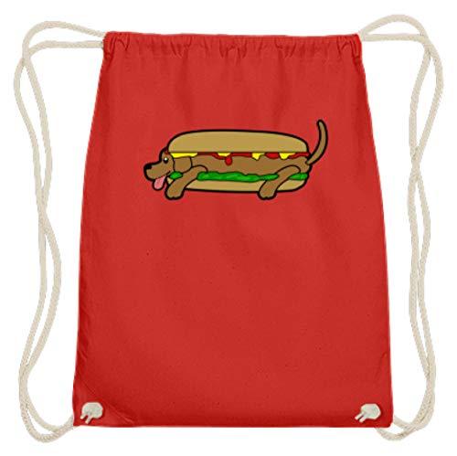 Generico Hot Dog In Tutti I Sensi - Palestra in cotone Gymmsac -37cm-46cm-rosso brillante