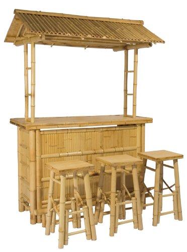 4tlg. Bar RIVAS + Bambus Theke Tresen Barhocker OUTDOOR