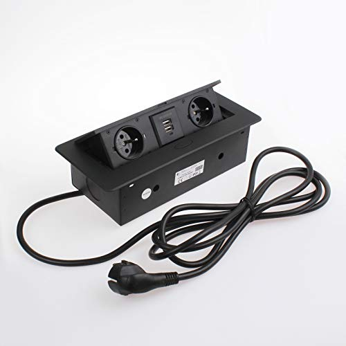 Caja de enchufe empotrable 2x Schuko + 2x USB 5V–Negro–Aluminio Inyectado–con Soft...