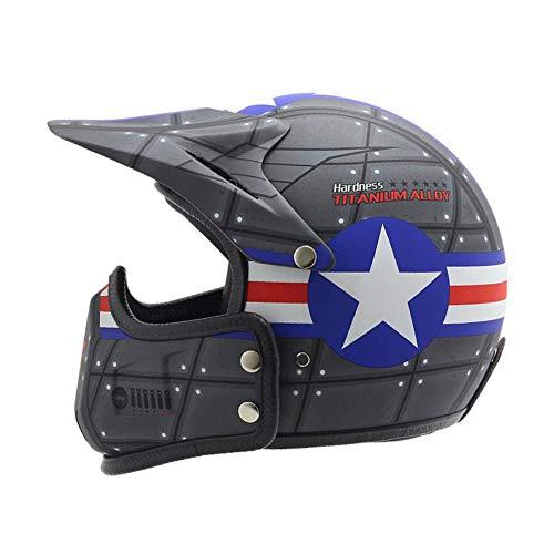 LEENY Caschi Jet Moto Vintage e Demi-Jet con Rimovibile Mento e Visiera Parasole, Casco di Motocross Uomo Casco Multiuso Aperto Viso Scooter Mountain Bike Helmet per Uomini Donne,XL