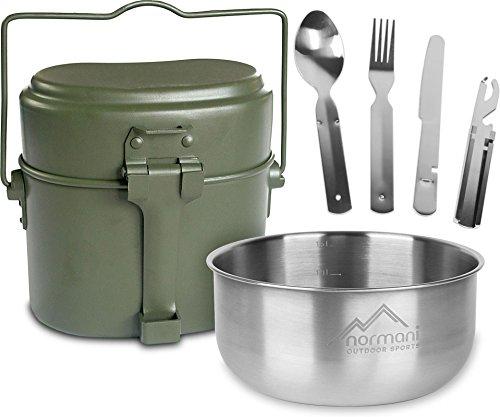 normani Outdoor Geschirrset Essbesteck + Aluminium Kochgeschirr + Schale 18/8 Stahl - rostfrei (Koch-ausrüstung)