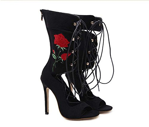 Femmes Cool Boots11.5 CM Stiletto Peep Toe Cross Straps Creux Zipper Brodé Haut Talon Robe Chaussures Parti Chaussures Eu Taille 35-40