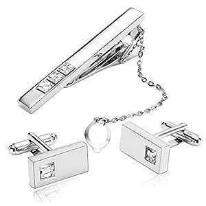 Gnzoe Uomo Acciaio Inossidabile Cristallo Cravatta Tie Clip Argento e Bianco Cristallo Camicia Gemelli e Cravatta Tie Clip Set
