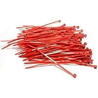 Yuhemii 100 x abrazaderas de cables 100Mm X 2.5Mm Zip Tie Bases (rojo)