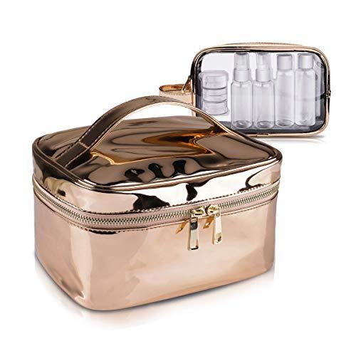 Tragbare Kosmetiktasche mit 7 Behältern, Morpilot Make up Tasche, Klare Kulturbeutel, Flugzeugflaschen, Wasserdichte PVC Reisetasche Organizer Cosmetics für Damen und Herren -