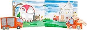 Small Foot 12040 - Libro de Fotos Interactivo de Madera con Certificado FSC 100%, Libro de bebé con Coche de Bomberos, REGT la fantasía de Juguetes