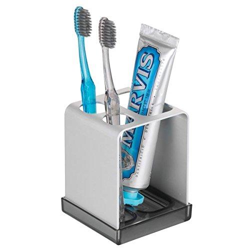 mDesign Zahnbürstenhalter ohne Bohren - Zahnputzbecher mit Platz für Zahnpasta und Aufbewahrung...