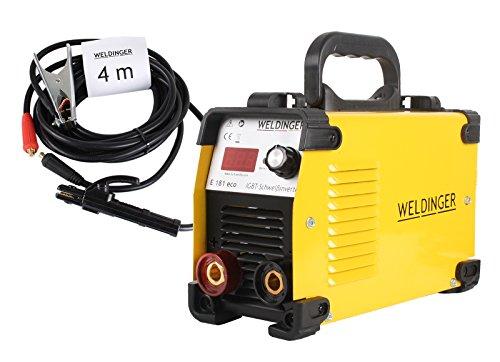 WELDINGER Elektroden - Schweißinverter E 181 eco mit 4m Kabeln 180A bis 4mm Elektroden Schweißgerät