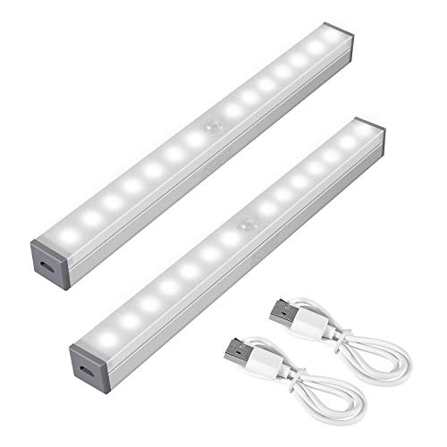 SZMDLX Bewegungs Sensor Schrank Lichter, unter kabinett lichtleiste, USB aufladbar, tragbares kabelloses Nachtlicht mit 14 LED für Schrankschrank, Treppenauflage mit Magnetstreifen (2 Stück) (Schrank Led-licht Unter Bar)