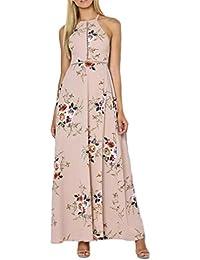 Lannister Fashion Donna Eleganti Vestiti da Sera Estivi Lungo Stampato  Floreale Abito da Cerimonia Backless Linea 9198e9111dd
