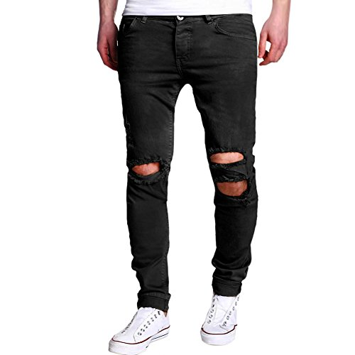 LAEMILIA Männer Jeans Slim Fit Schwarz Stretch Destroyed Jeanshose Denim  Hose Röhrenjeans Casual ee99489361