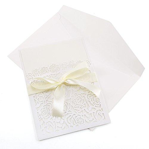 10x Hochzeit Einladung Umschlag --Spitze, Karte, Laser-Cut, Vintage, Party, Geschenk