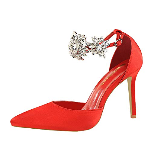 Lxmhz Damen Stiletto Schuhe Schmetterling Stiletto geschlossen Pointed Toe Pumps Party High Heels geeignet für Büro, Arbeit, Daily, Zeitungen, Hochzeit,3,US6.5/7/EU37/UK4.5/5 - Faux Leder-rahmen
