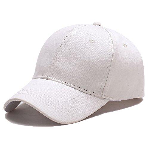 Yidarton Unisex Kappe Outdoor Baseball Cap Verstellbar Erwachsenen Mütze Casual Cool Mode Baseballmütze Hip Hop Flat Hüte (Weiß) -