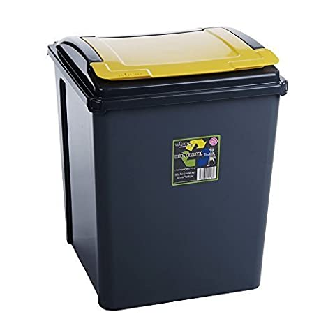 50L Litre Plastic Indoor Recycle Recycling Waste Bin with Lid for in the Home / Kitchen - Made in the UK - Choice of Colours Blue by Trueshopping