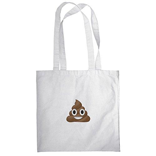 Texlab–Poo Emoji–sacchetto di stoffa Bianco