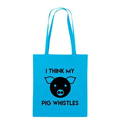 Comedy Bags - I THINK MY PIG WHISTLES - Jutebeutel - lange Henkel - 38x42cm - Farbe: Schwarz / Pink Hellblau / Schwarz