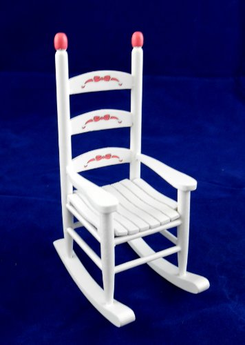 Casa Delle Bambole Mobile Nursery In Miniatura Legno Bianco nastri ABC Sedia A Dondolo
