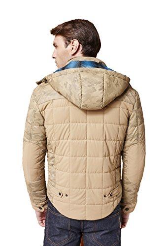 Colorfulworldstore Herren-Winterjacke aus Baumwolle mit Lammfellkragen und Steppdesign Khaki