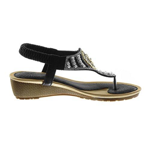 Angkorly Chaussure Mode Sandale Tong Slip-On Salomés Femme Strass Diamant Perle Talon Compensé 4.5 cm Noir