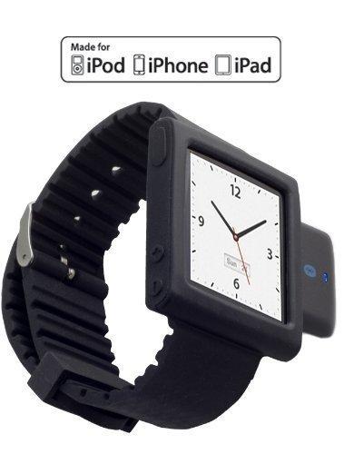 KOKKIA i10sWatch: Die ultimative Armbanduhr. Tiny i10s (in luxuriösem Schwarz) Bluetooth iPod Transmitter mit schwarzem iPod Nano 6G Armband (iPod Nano nicht enthalten). (Nano Armband Classic Ipod)