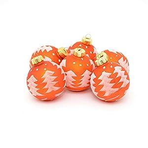 Shatchi 15642-BAUBLES-ORANGE-6 bolas decorativas de cristal para árbol de Navidad con diseño de árbol de Navidad, decoraciones, decoración del hogar de temporada, multicolor, 6 unidades