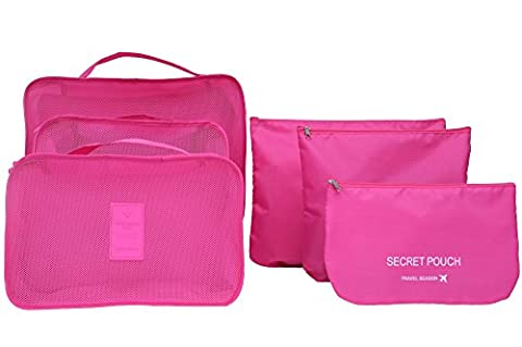 6PCS/Set Waterproof Clothes Storage Bags Packing Cube Travel Luggage Organizer Bag (rose)