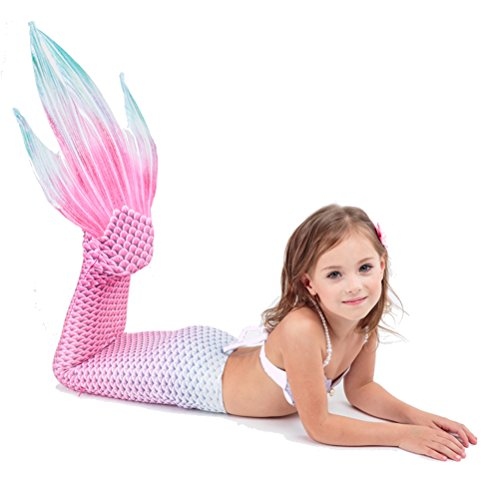 (CR#ST Little Girls Mermaid Tails Badeanzug Weste Prinzessin Kleid Bikini Set Bademode für Kinder Karneval Party Kleid)