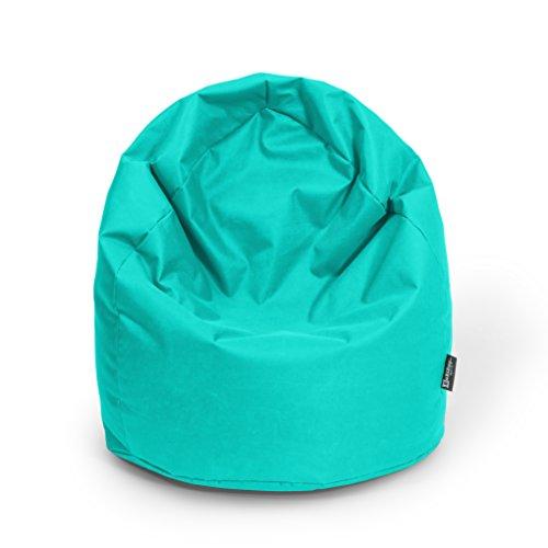 BuBiBag Sitzsack Tropfenform Beanbag Sitzkissen für In & Outdoor XL 300 Liter bis XXXL 470L mit Styropor Füllung in 23 versch. Farben (XXXL Ca. H : 130cm - Dm : 85cm ca. 490 Liter, türkis)