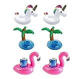 Tesan Aufblasbare Getränkehalter, Flamingo Palm Einhorn Aufblasbares Flaschenhalter,3 Stil,6 Stücke
