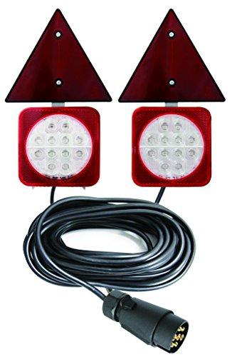 LED Rückleuchten-Set für Anhänger Verkabelt Magnet-Befestigung mit Dreieckrückstrahler 12V - Anhänger Magnetische