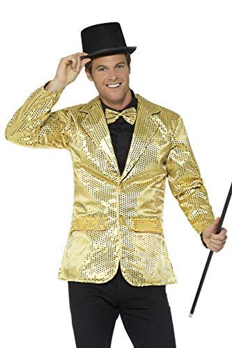 Smiffys Herren Pailletten Jacke, Größe: M, Gold, 21163