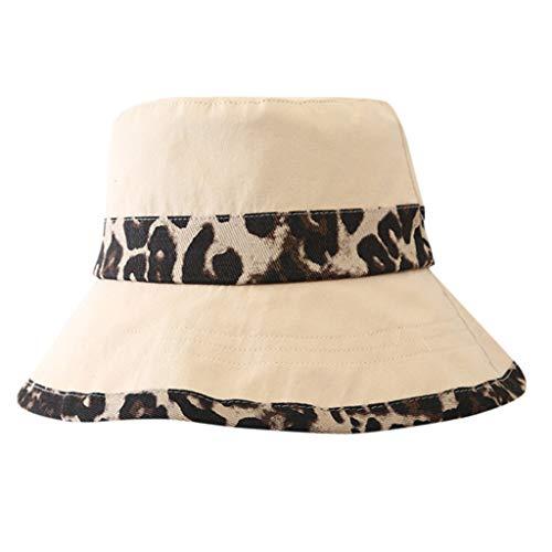 Junjie Damen Mädchen Mütze Haube Casual Leopard Breiter Krempe Floppy Faltbarer Sommer Sun Beach Hut Schwarz, Beige, Pink, (Schwarz Und Pink Mini Fedora Hut)