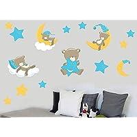 Teddybears & Stars - Blue - Pack of 15 - Childrens Nursery Printed Wall Art Vinyl Stickers