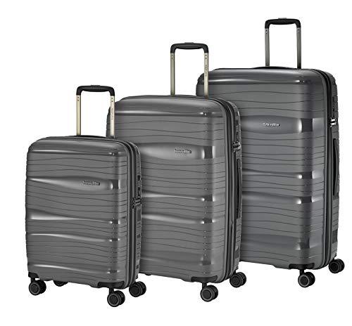 Travelite Leichter, robuster und beweglicher Rollen-Reisekoffer Trolley 'Motion' mit Hartschalen in 4 Farben Koffer-Set, 77 cm, 213 Liter, Anthrazit