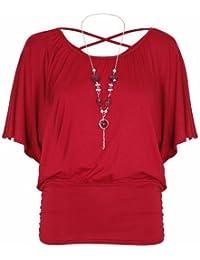 Damen Kurzer Flügelärmel Damen Stretch Rund U-ausschnitt Hinten Über Kreuz Perlenbesetzte Halskette T-Shirt Top