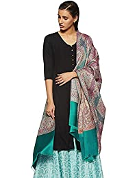 Weavers Villa Women's Wool Shawl (Green, Large)