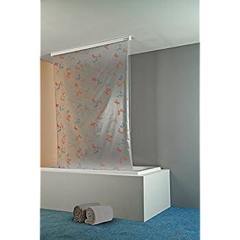 134 cm Colore: Argento//Conchiglia Bianca ECO-DuR 4024879003340 Tenda a Rullo per Doccia con Cassetta